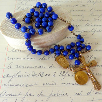 Antique French Art Deco Rosary, Blue Beads