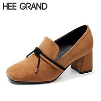 HEE GRAND Women's Thick Heel Slip-On Oxfords/Shoes