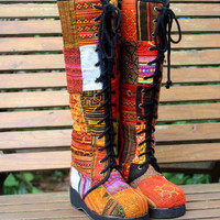Knee High Womens Boots In Colorful Vintage Ethnic Hmong Patchwork Lace Up
