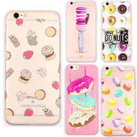 Rainbow Color Food Hamburger Donuts Macaron Pattern Cases Cover For iphone 6 6s plus Transparent Silicone Protective Phone Shell