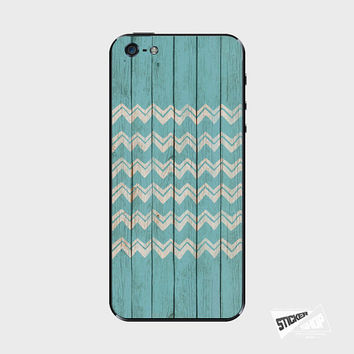 iPhone 5S Skin iPhone 4S Decal Phone Sticker Cover Navy Blue Chevron Wood