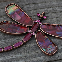 Dragonfly Pendant Abalone Shell Pink Fuchsia Magenta Crystals
