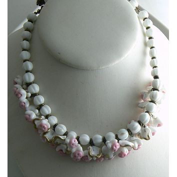 Vintage Miriam Haskell Pink and White Dangling Glass Flower Necklace