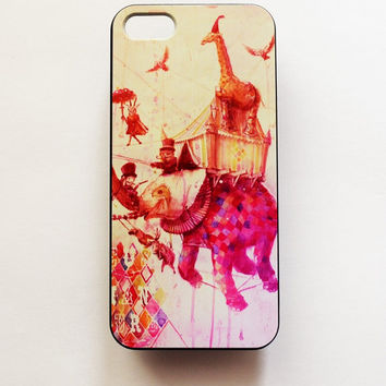 iPhone 5 Case Cover Elephant Circus iPhone 5s Hard Case Vintage Design iPhone 5 Back Cover Cute iPhone Case