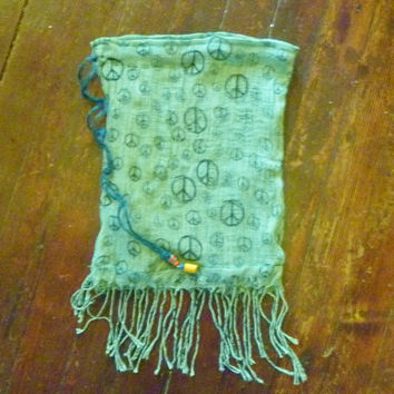 Refashioned Green Peace Sign Scarf Drawstring Bag/Pouch