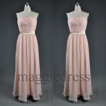 Custom Light Pink Long Prom Dresess Bridesmaid Dresses 2014 Evening Gowns Formal Party Dresess Homecoming Dresses Party Dress Cheap Dress