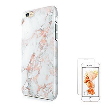 iPhone 6s Case,iPhone 6 Case uCOLOR Rose Gold Marble Ultra Slim Hard Shell Soft TPU Dual Layer Protective Case for iPhone 6S/6 with Slim Tempered Glass Screen Protector