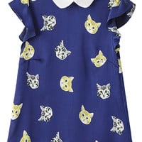 Kitten Print Peter Pan Collar Short Sleeve Top