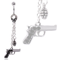 316L Surgical Steel Skull Dangle Belly Ring with Gun and Grenade