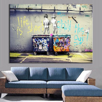 Modern Wall Paintings Banksy Graffiti Art printed Home Decor Pictures Printed On Canvas(Frame£ºNo)