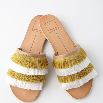 Celaya Yellow Fringe Slide Sandals