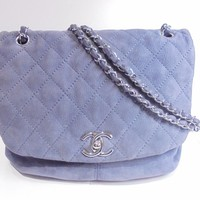 CHANEL Quilted CC Chain ShoulderBag Suede Leather Purple