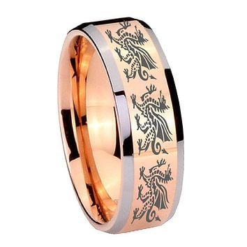 8MM Rose Gold Multiple Dragon Bevel Edges 2 Tone Tungsten laser Engraved Ring