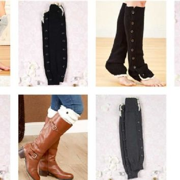 Over the Knee Leg Warmers Button Up Lace Ivory Black Grey Charcoal Boot Socks
