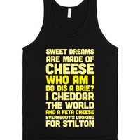 Sweet Dreams Are Made of Cheese-Unisex Black Tank