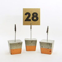 Photo Holders, Bronze Place Card Holder, Cement Photo Holder, Table Number Holder, Modern Table Number Stand, Table Number Signs - Set of 3
