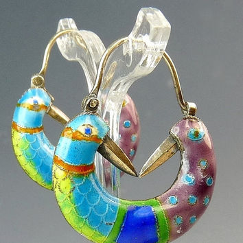 Vintage Laurel Burch Cloisonné Enamel Pierced Earrings Lovebirds Sterling Silver