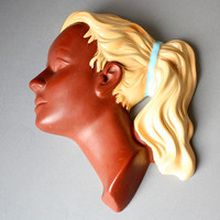 Wall mask girl braid / hanging / plaque ceramic Cortendorf Germany Mid Century 50's 60s vintage