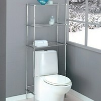 Chrome finish metal bathroom eterge over toilet shelf unit