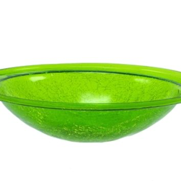 Crackle Glass Bowl Fern Green (no cradle)