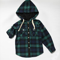 Vierra Rose Hunter Hooded Shirts Green Plaid - T1038 - PRE-ORDER