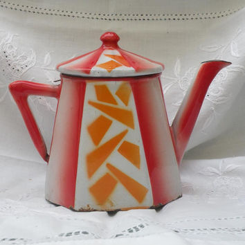 art deco enamelware, deco teapot, enamel coffeepot, french shabby chic, vintage home decor, 1930s enamelware, red orange coffeepot