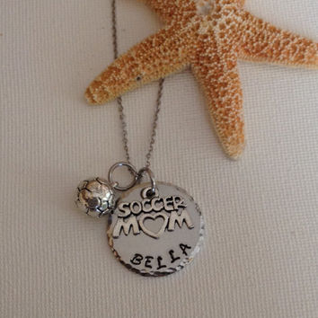 Soccer mom necklace, soccer, team sports, soccer lovers, sports, kids soccer, handstamped and personalized.