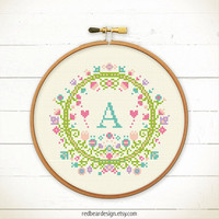 Initial Cross stitch pattern PDF - Floral with Alphabet/Letter -Instant download-Art Initial Monogram- Spring Inspiration baby nursery