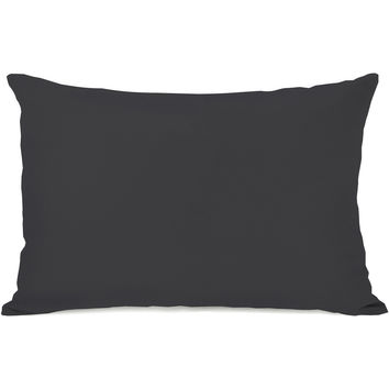 """Solid Color"" Outdoor Throw Pillow by OneBellaCasa, Charcoal, 14""x20"""