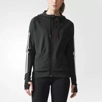 Adidas Women Fashion Hooded Sport Cardigan Jacket Coat Sweatshirt