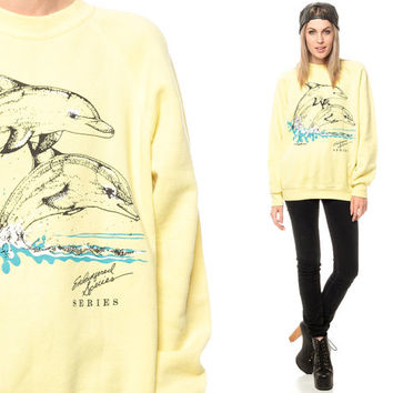 80s DOLPHIN Sweatshirt Animal Print Jumper Endangered Species Slouchy 1980s Sweater Vintage Pale Yellow Raglan Sleeve Extra Small Medium xs
