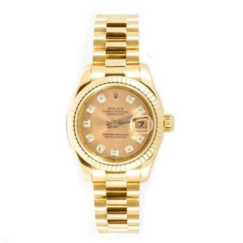 GRQ5 Rolex Ladys President New Style Heavy Band 18k Yellow Gold Model 179178 Fluted Bezel Champagne Diamond Dial