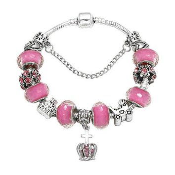 "AUGUAU HEWIC ""I Love You"" Charm Bracelet Gift Silver Plated Snake Chain DIY Pink Glass Beads Heart Carved Strand Bracelet For Women Girls"