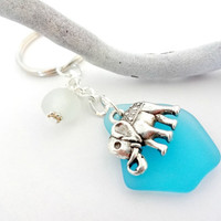 Beautiful Aqua Blue Sea Glass and Elephant Charm Keychain, Good Luck Charm Accessories