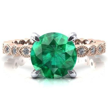Lizette Round Emerald 4 Claw Prong 3/4 Eternity Milgrain Diamond Shank Engagement Ring