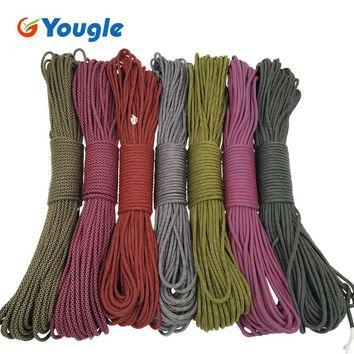 YOUGLE Paracord 550 Parachute Cord Lanyard Rope Mil Spec Type III 7Strand 100FT Climbing Camping survival equipment 165-171