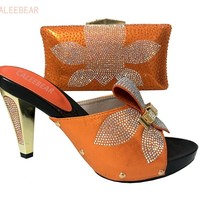 Italian New Elegant Design For Woman Heel Shoes With Many Crystal Matching Graceful Bag For Wedding Or Party Orange Color