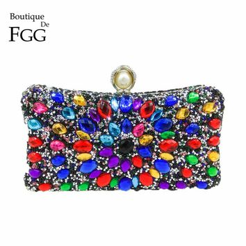 Boutique De FGG Multi Color Crystal Women Pearl Beaded Black Evening Metal Clutches Bag Wedding Party Prom Bridal Handbag Purse