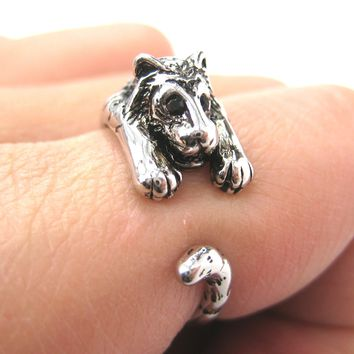 Realistic Tiger Animal Wrap Around Ring in Shiny Silver - Sizes 4 to 9 Available