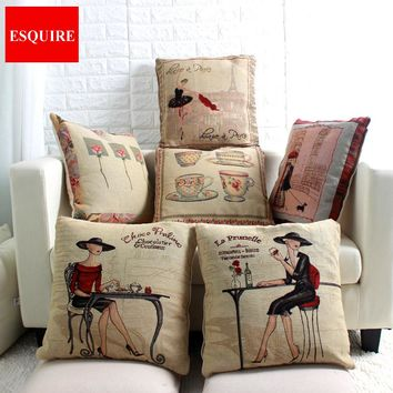 45x45cm Lady Flower Cup Dancer Coffee Dog Cat Horse Pillow Case W/O Filling Bedding chair linen cotton Pillow cover 45x45cm