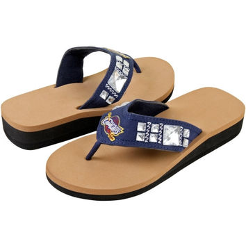 Cleveland Cavaliers Ladies Jewel Flip Flop Wedge Flip Flops - Navy Blue/Tan