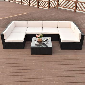 7 PCS Patio Rattan Wicker Furniture Set Sectional Seat Cushioned Garden Black