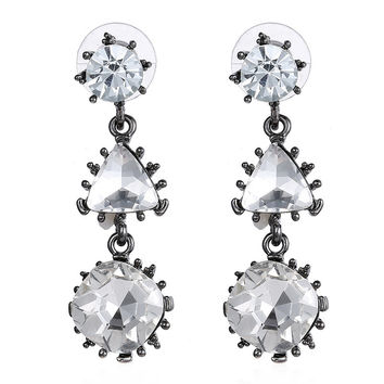 Stylish Vintage Diamonds Geometric Gemstone Earring Earrings [6047576001]