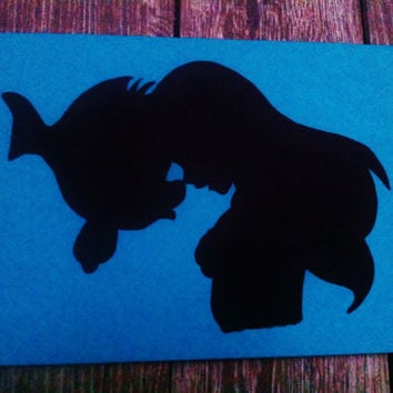 Hand Painted Canvas - Disney Silhouettes - Ariel & Flounder