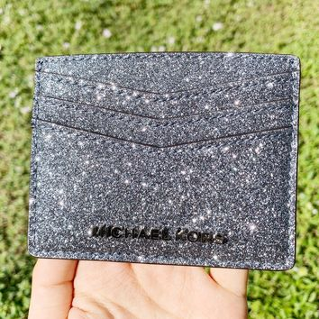 Michael Kors Giftables Large Card Holder Dusty Blue Glitter