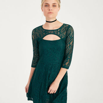 Lace Keyhole Skater Dress With 3/4-Sleeves | Wet Seal