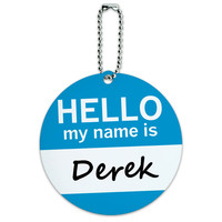Derek Hello My Name Is Round ID Card Luggage Tag