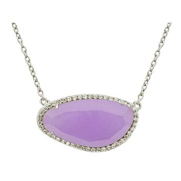 """Platinum Plated Sterling Silver Purple Stone Slice Pendant Necklace, 16"""""""