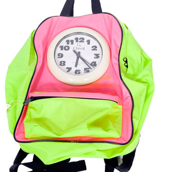 Vintage 90's neon icon backpack with working clock lime green amazing flava flav hipster dream