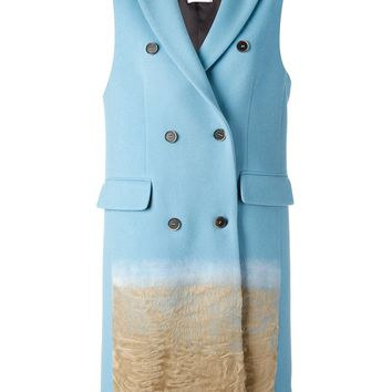 MSGM textured ombré detail sleeveless coat